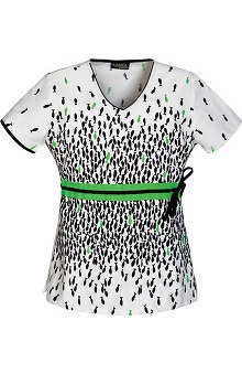 Runway by Cherokee Women's V-Neck Fish Print Scrub Top