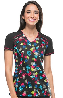 Runway by Cherokee Women's V-Neck It Takes Tulip Print Scrub Top