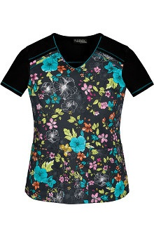 Runway By Cherokee Women's V-Neck Tahiti Sweetie Print Scrub Top