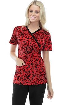 Clearance Runway by Cherokee Women's Mock Wrap Floral Print Scrub Top