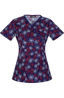 Clearance Runway Stretch by Cherokee Women's Mock Wrap Daisies Print Scrub Top
