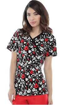 Runway by Cherokee Women's Mock Wrap Hello Poppy Print Scrub Top