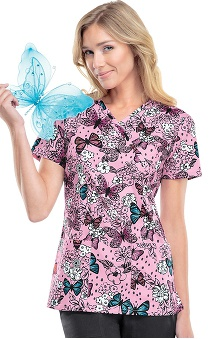 Runway by Cherokee Women's Mock Wrap Butterfly Print Scrub Top