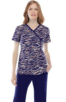 Clearance Runway By Cherokee Women's Mock Wrap Animal Print Scrub Top