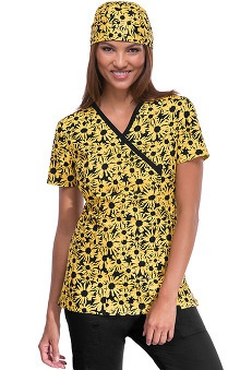 Runway by Cherokee Women's Mock Wrap Sunny Sunflower Print Scrub Top