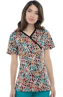 Runway by Cherokee Women's Mock Wrap Animal Print Scrub Top