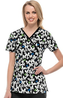Runway Stretch by Cherokee Women's Mock Wrap Butterfly Print Scrub Top