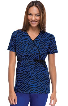 Runway by Cherokee Women's Mock Wrap Leave It To Zebra Print Scrub Top