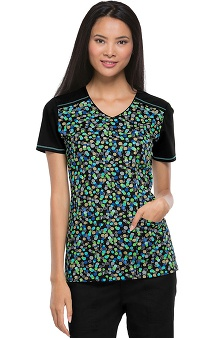 Runway by Cherokee Women's V-Neck You've Dot It Print Scrub Top