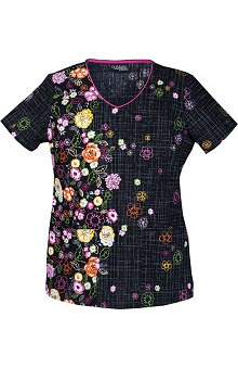 Runway by Cherokee Women's V-Neck Flower Print Scrub Top