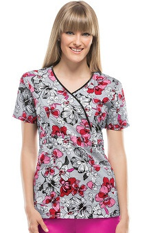 Runway Stretch by Cherokee Women's Mock Wrap Floral Print Scrub Top