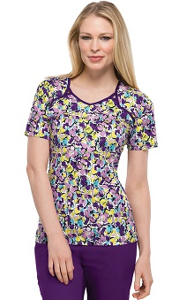 Clearance Runway by Cherokee Women's V-Neck Florabelle Print Scrub Top