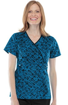 Runway by Cherokee Women's Mock Wrap Checks and Balances Print Scrub Top