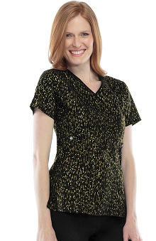 Runway by Cherokee Women's Mock Wrap Abstract Print Scrub Top