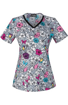 Runway by Cherokee Women's V-Neck Floral Print Scrub Top