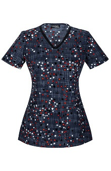 Runway by Cherokee Women's V-Neck Hearts Print Scrub Top