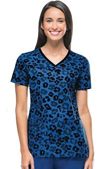 Clearance Runway by Cherokee Women's V-Neck That's So Wild Print Scrub Top