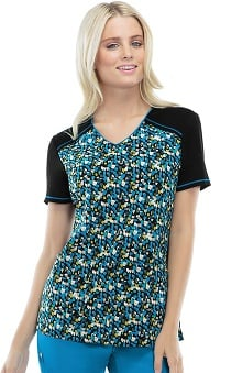 Runway by Cherokee Women's V-Neck Abstract Print Scrub Top