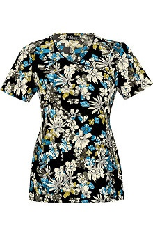 Runway by Cherokee Women's Mock Wrap Fantastically Floral Print Scrub Top