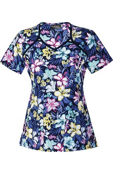 Clearance Runway by Cherokee Women's V-Neck Floral Print Scrub Top