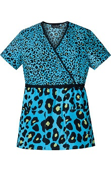 Clearance Cherokee Women's Mock Wrap Tunic Print Scrub Top