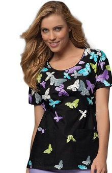 Clearance Cherokee Women's Piping Round Neck Butterfly Print Scrub Top
