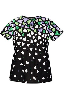 Clearance Runway by Cherokee Women's V-Neck Heart Print Scrub Top