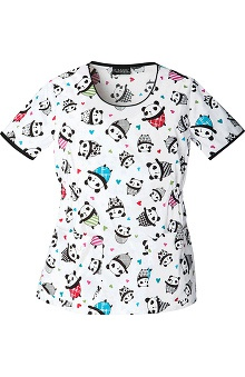 Runway Stretch by Cherokee Women's Round Neck Critter Print Scrub Top
