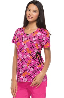 Runway by Cherokee Women's Round Neck Flor All You Do Print Scrub Top