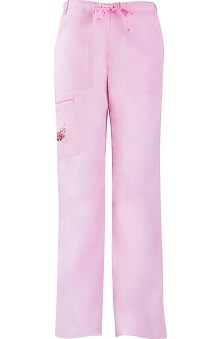Clearance Cherokee Warriors In Pink Powered By Ford Women's Mid-Rise Drawstring Cargo Scrub Pant