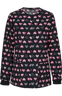Clearance Breast Cancer Awareness by Cherokee Women's Snap Front Warm Up Scrub Jacket