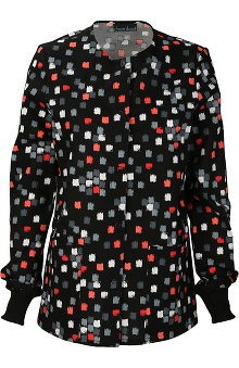 Cherokee Women's Snap Front Geometric Print Warm Up Scrub Jacket