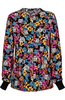 Cherokee Women's Snap Front Warm Up Owl Print Scrub Jacket