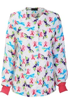 Clearance Breast Cancer Awareness by Cherokee Women's Snap Front Geometric Print Warm Up Scrub Jacket