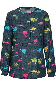 Cherokee Women's Snap Front Warm Up Scrub Dog Print Scrub Jacket