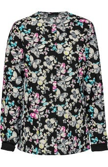 Clearance Cherokee Women's Snap Front Warm Up Scrub Butterfly Print Scrub Jacket
