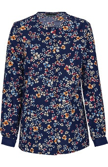 Cherokee Women's Snap Front Warm Up Scrub Posy Print Scrub Jacket
