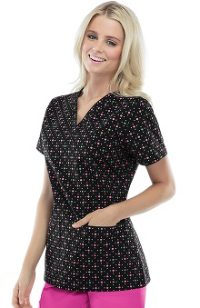 Cherokee Women's V-Neck Dot Print Scrub Top