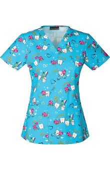 Clearance Cherokee Women's V-Neck Tooth Print Scrub Top