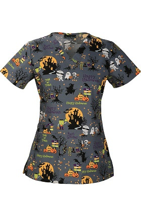 Clearance Cherokee Women's V-Neck Halloween Print Scrub Top