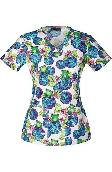 Clearance Cherokee Women's V-Neck Frog Print Scrub Top