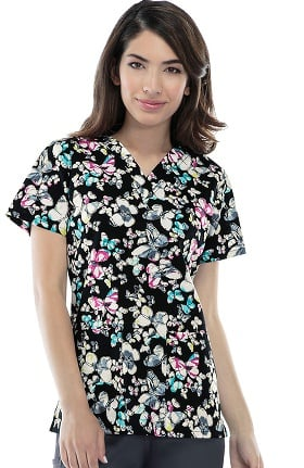 Cherokee Women's V-neck Butterfly Print Scrub Top