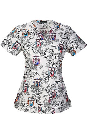 Clearance Cherokee Women's V-Neck Owl Print Scrub Top