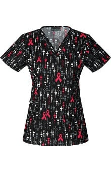 Cherokee Women's V-Neck Ribbon Print Scrub Top