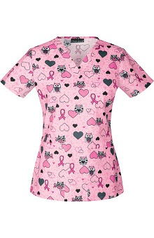 Breast Cancer Awareness by Cherokee Women's V-Neck Owl Print Scrub Top