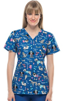 Clearance Cherokee Women's V-Neck Dog Print Scrub Top