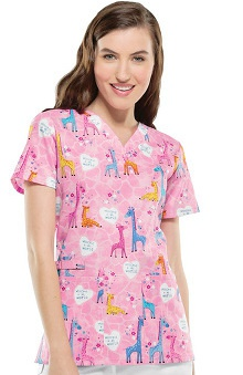 Clearance Cherokee Women's V-Neck Baby Print Scrub Top