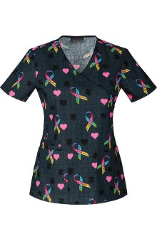 Cherokee Women's Mock Wrap Autism Awareness Print Scrub Top
