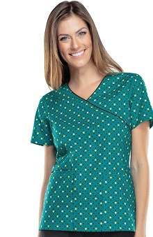Cherokee Women's Mock Wrap Polka-Dot Print Scrub Top