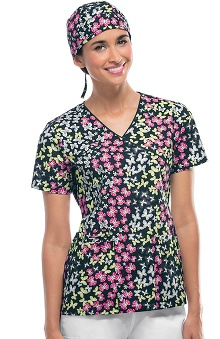 Cherokee Women's Mock Wrap Butterfly Print Scrub Top